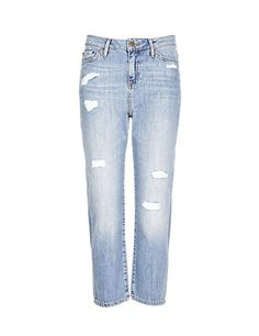 Straight Leg Ripped Cropped Denim Jeans | M&S