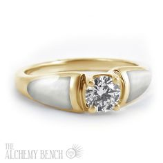 """""""Morning Frost - Enchantment"""" Unique Diamond and White Mother of Pearl Engagement Ring 