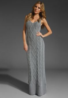 SPRING & CLIFTON Snowden Cableknit Maxi in Heather Gray at Revolve Clothing - Free Shipping!
