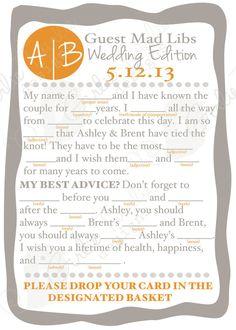 Wedding Advice Reception Mad Libs Custom Designed cards