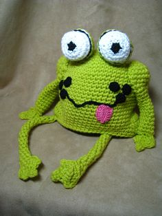 #Crochet a frog hat for yourself or a silly child you know. Now this is what I call creative!