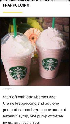 Captain Crunch berry frappe with a green straw. Starbucks Flavors, Starbucks Tea, Starbucks Secret Menu Drinks, Starbucks Order, Fruit Smoothie Recipes, Smoothie Drinks, Captain Crunch Starbucks, Captain Crunch Frappucino, Starbucks Unicorn Frappuccino Recipe