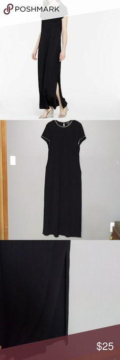 Ann Taylor Black Maxi Stretchy Dress Pre-owned in great shape. Very comfortable and has super stretchy material. Dress do not has zipper or pockets. Plain dress good for any accession or everyday.  no need zipper, because of stretchy material. On bottom of the dress sides are open(see picture #3) Measures approx: Length is 56in, chest laying flat is 19in, waist line17 in. Ann Taylor Dresses Maxi