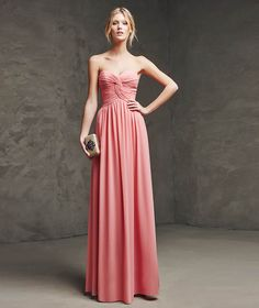 LARIMA- Long dress for a wedding or special party. Gauze dress with sweetheart neckline. Draped bodice and skirt with center opening.