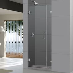 The UnidoorLux shower door shines with a sleek completely frameless glass design. Premium thick tempered glass combined with high quality solid brass hardware deliver the look of custom glass at an incredible value.