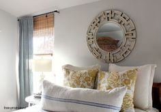 Master bedroom of The Inspired Room blog.  Walls:  Glidden, Polished Limestone.  So pretty.