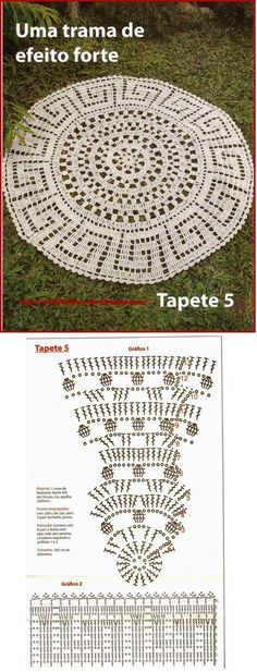 Large Doily or Doily rug diagram (from a crochet mag? Filet Crochet, Crochet Doily Rug, Crochet Carpet, Crochet Diy, Crochet Motifs, Crochet Home Decor, Crochet Tablecloth, Crochet Diagram, Crochet Squares