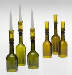 Botellas Cortadas Utilizadas como Portavelas