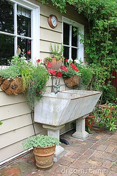 Vintage charming shed with antique basin.