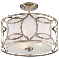 "Roxbury 16"" Wide Antique Brass Ceiling Light"