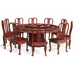 "72"" Mother of Pearl Inlaid Round Table with 10 Chairs.The symbol of unity and eternity represented by the circular shape is prevalent in Chinese art as seen in this round dining table. Mother-of-pearl decoration is hand-inlaid throughout the entire table. Dark cherry finish. Oriental Rosewood dining set."