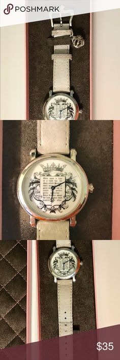 "White Leather Juicy Couture Once Upon A Time Watch White leather band watch with silver crown charm and closure. Face is pearl like with a ""Once upon a Time"" princess story. Comes in authentic storage box and outer box with pamphlet. Juicy Couture Accessories Watches"
