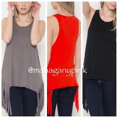 Fringe Tank NWOT please ask for separate  listing. Available in black and grey only. Tops Tank Tops