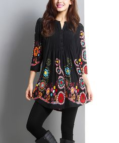 Another great find on #zulily! Black Garden Notch Neck Tunic - Women by Reborn Collection #zulilyfinds