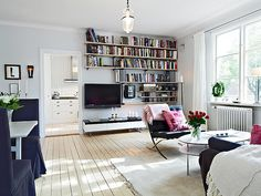 create bookshelves like these above tv