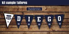 #Banderines de cumple con el nombre, más banderines extras #Talleres #cumple #kitimprimible #futbol #miah Bar, Baseball, Pastel, Deco, Flag Football, Paper Patterns, Wrapping, Invitation Cards, Baseball Promposals