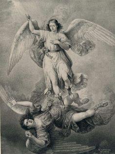 A história do arcanjo São Miguel está ligada ao relato da queda dos anjos. Deus criou-os, antes mesmo da criação do mundo, inseridos, de algum modo, no tempo, e ofereceu-lhes uma ocasião para demonstrar o seu amor.