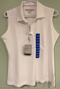 NWT Womens Greg Norman Signature Series Sleeveless Polo Shirt LARGE White $45 #GregNorman #ShirtsTops