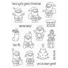The Clearly Besotted Santa Baby Clear Stamp set is inches! Approximate measurements: Santa's range around - x inches Tree - x inches Chimney - x 1 inch Christmas Doodles, Christmas Drawing, Felt Christmas, Christmas Crafts, Santa Baby, Tampons, Digital Stamps, Colouring Pages, Xmas Cards