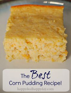 The Sweetest & BEST Corn Pudding Recipe! This will become a family favorite for sure - especially at Thanksgiving time! This can be a sweet corn bread recipe too! Thanksgiving Side Dishes, Thanksgiving Recipes, Holiday Recipes, Corn Pudding Recipes, Corn Recipes, Best Cornbread Pudding Recipe, Best Corn Cake Recipe, Sweet Corn Pone Recipe, Recipe Recipe