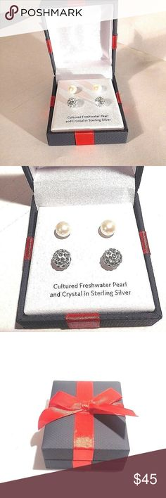 2 Sets Studded Earrings 2 Sets Earrings Cultured Freshwater Pearls Crystal In Sterling Silver Gift Box  #25 Unbranded Jewelry Earrings