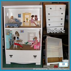DIY And Household Tips: DIY Barbie Doll House From An Old Dresser