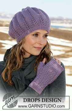 Free knitting patterns and crochet patterns by DROPS Design Fingerless Gloves Knitted, Crochet Gloves, Knit Mittens, Crochet Lace, Knitted Hats, Knit Cowl, Hand Crochet, Knitting Patterns Free, Free Knitting
