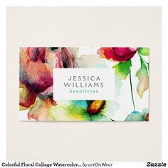 Colorful Floral Collage Watercolors Illustration