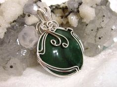 African Jade Pendant Solid 930 Sterling Silver by jewlerybypatterson