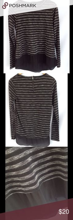 Stylus Black & Gray Stripe Top Cute top with exposed zipper on back and black sheer layer at bottom. Excellent condition! Stylus Tops