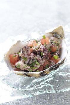 Ceviche, Mussels, Clams, Oysters, Love Food, Tapas, Spaghetti, Appetizers, Cooking Recipes