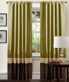 Take a look at this Green & Chocolate Mia Curtain Panel - Set of Two by Triangle Home Fashions on #zulily today!