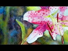How to Paint the Rubrum Lily in Watercolor - Aquarelle Watercolor Video, Watercolor Painting Techniques, Watercolor Projects, Watercolour Tutorials, Painting Lessons, Watercolor Flowers, Art Lessons, Painting & Drawing, Watercolor Paintings