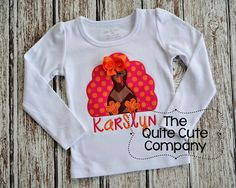 Applique Girly Turkey Fall Shirt- Personalized with name and bow