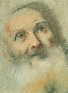 Federico Barocci (Urbino c. 1535-Urbino 1612) The head of an old man  c.1575 Black, white and coloured chalks on pale blue-green paper