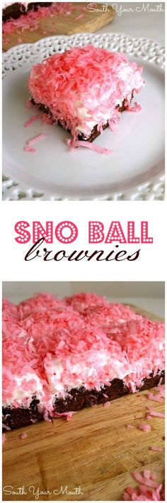 Sno Ball Brownies just like the classic Hostess snack cakes! (You can also use green dye and jelly beans or M&Ms for Easter Egg Brownies!) (recipes for desserts fudge brownies) Mini Desserts, Just Desserts, Delicious Desserts, Yummy Food, Brownie Recipes, Cookie Recipes, Dessert Recipes, Brownie Pan, Oreo Dessert