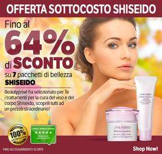 SUPER OFFERTA SOTTOCOSTO SHISEIDO!!  7 PACCHETTI DI BELLEZZA SHISEIDO SCONTATI FINO AL 64%!!!!*  Beautyprivè ha selezionato per Te i migliori trattamenti per la cura del viso e del corpo Shiseido.... Scoprili tutti ad un prezzo straordinario!  *Offerta valida fino ad esaurimento scorte  #Shiseido #beauty #bellezza #cosmesi #skin #skincare #promozione #sconti #offerte #shopping #shoponline #Beautyprivè #Beautyprivesconti #Beautypriveofferte #Beautyprivetopseller