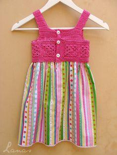 Cute #crochet and fabric dress made by Lanas de Ana