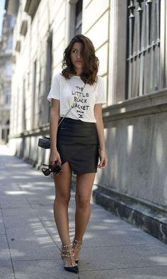 Look T-shirt + Saia de Couro