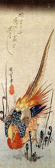 Ando Hiroshige: Golden Pheasant in Bracken - found at Wahoo Art