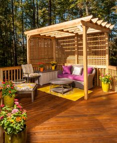 Deck inspiration!!! Small pergola in the corner over lounge furniture and bright colours :)