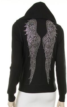 Angel wings Rhinestone black jacket hoodie, find here: http://stores.ebay.com/The-Stylish-Boutique/_i.html?_nkw=angel+wings+hoodie&submit=Search&_sid=544253133