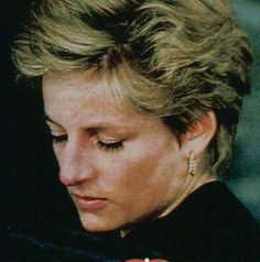 Princess Diana, sadness and distress clearly visible on her face. This is the most distraught image seen todate. Her sadness is deep.