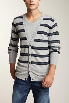 Diesel Men Kingiss Sweater in charcoal grey gray stripe cotton cardigan