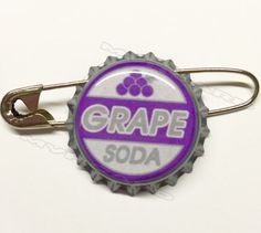 Ellie Badge Inspired Grape Soda Pin Bottlecap Up by MyHoard