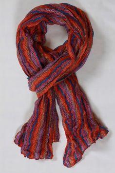 Chèche à rayures orange et violet