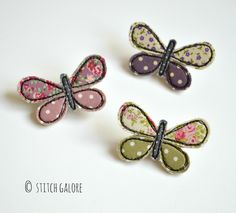 Pretty applique embroidered butterfly brooches handmade by Stitch Galore