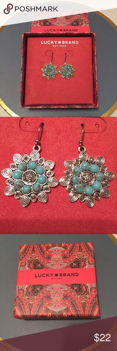 """Lucky Brand Earrings Lucky Brand Semi Precious Accents Earrings in Aqua Blue and Silver. 1"""" diameter. Brand new in gift box. Never even tried on. Would make a perfect Mother's Day gift! Lucky Brand Jewelry Earrings"""