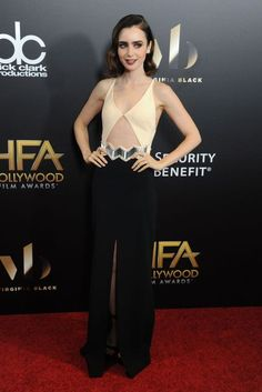 Lily Collins wore David Koma Resort. Hollywood Film Awards, Los Angeles - November 6 2016