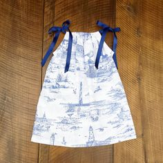 Nautical Toile Dress, Girls Beach Dress, Blue Beach Toile, Beach photoshoot, pillowcase dress, baby, toddler,  All sizes newborn to 9/10 by ShelbyJaneandCo on Etsy https://www.etsy.com/listing/225999945/nautical-toile-dress-girls-beach-dress